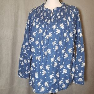 J. CREW floral chambray popover tunic size 8